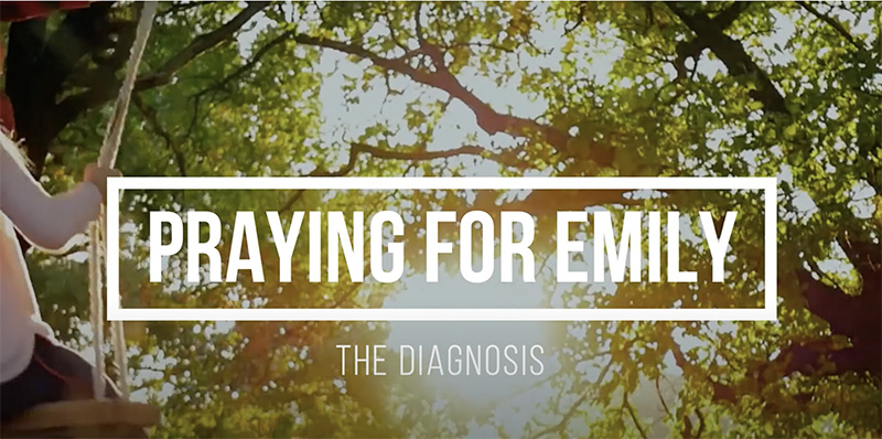 photo that says praying for emily the diagnosis with trees and a little girl on swing