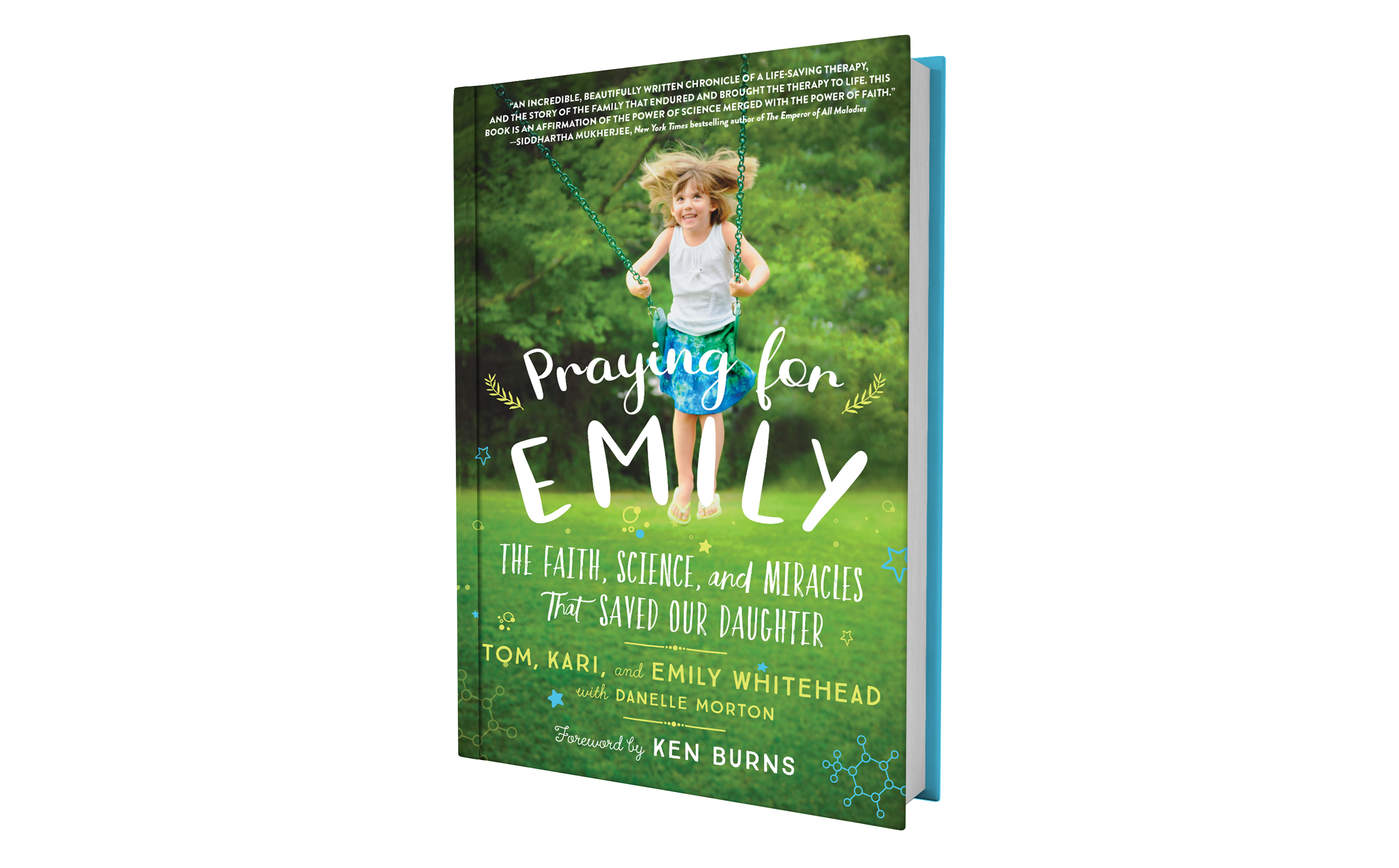 This is a photo of the book called Praying for Emily: The Faith, Science, and Miracles that Saved Our Daughter. The cover shows a little girl swinging on a swing.
